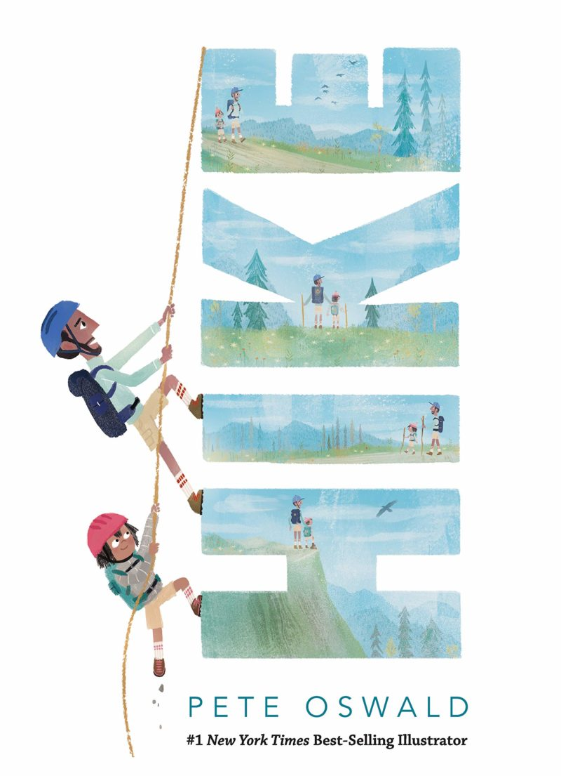 "The cover of ""Hike"" shows a man and a child climbing up the word ""hike"". It's very cute and pretty."