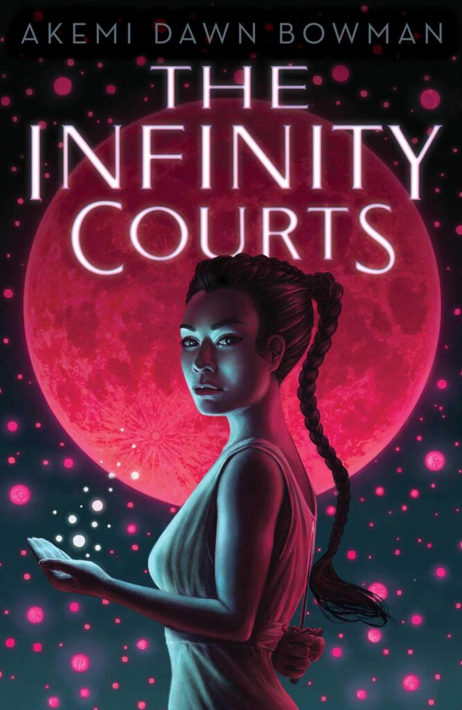 Cover page of The Infinity Courts by Akemi Dawn Bowman - main character Nami stands in front of a red moon, her palm is upturned and spheres of light float above it.